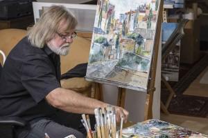 Alfred Otte in seinem Atelier